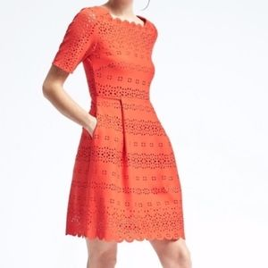 NEW Banana Republic Laser Cut Fit and Flare Dress